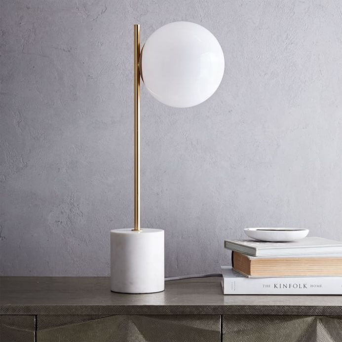 Sphere Shade Metal Stem Table Lamp With Brass Finish